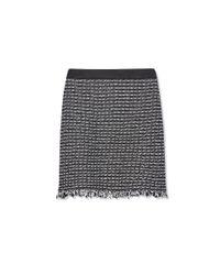 Tory Burch - Black Raffia & Leather Skirt - Lyst