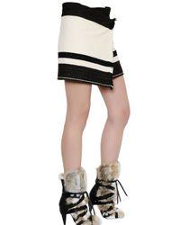 Isabel Marant Black Striped Wool Blend Blanket Skirt
