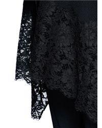 Valentino | Black Lace Hem Rib Knit Shawl Cardigan | Lyst