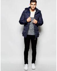 Blend - Blue Quilted Jacket Hooded Long for Men - Lyst
