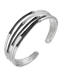 John Hardy | Metallic Bamboo Silver Lava Narrow Flex Cuff for Men | Lyst