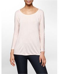 Calvin Klein - Pink Jeans Lace Detail Dolman 3/4 Sleeve Top - Lyst