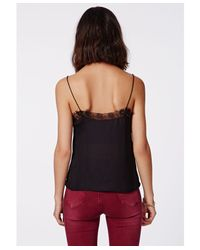 Missguided Payla Lace Insert Cami Top Black
