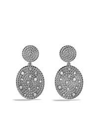 David Yurman - Metallic Cable Coil Doubledrop Earrings with Diamonds - Lyst