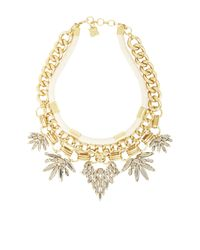 BCBGMAXAZRIA | Metallic Cord And Stone Statement Necklace | Lyst