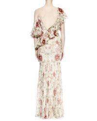 Alexander McQueen Multicolor One-shoulder Medieval-floral Print Gown