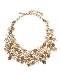 Oscar de la Renta Metallic Crystal Flower Bib Necklace