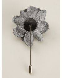 Lanvin Gray Flower Corsage Pin for men