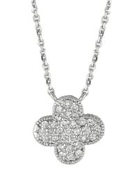Lord & Taylor | Diamond Clover Pendant In 14 Kt. White Gold | Lyst