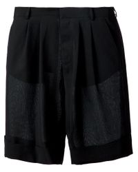 Cerruti 1881 Black Pleated Lightweight Shorts for men