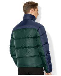 Polo Ralph Lauren Green Colorblocked Quilted Trek Jacket for men