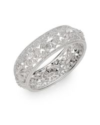 Adriana Orsini - Metallic White Stone Floral Deco Bangle Bracelet - Lyst