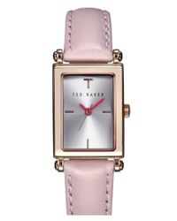 Ted Baker Pink 'bliss' Rectangle Case Leather Strap Watch