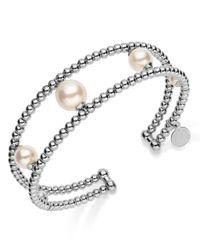 Majorica White Rhodium-Plated Organic Man-Made Pearl Cuff Bracelet