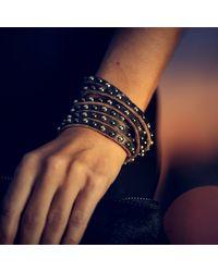 Linea Pelle | White Double Wrap Mixed Stud Bracelet | Lyst