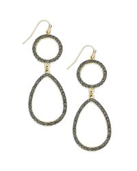 INC International Concepts - Metallic Goldtone Black Diamond Pavè Teardrop Earrings - Lyst