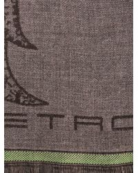Etro - Brown Paisley-Print Wool Scarf for Men - Lyst
