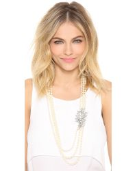 Ben-Amun | White Crystal Flower Imitation Pearl Necklace - Pearl/clear | Lyst