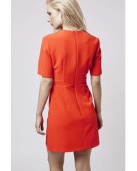 TOPSHOP - Red Popper Shift Dress - Lyst