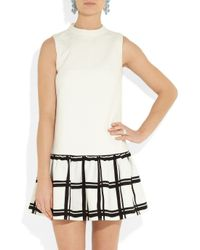 Tibi White Checked Cotton-crepe Dress