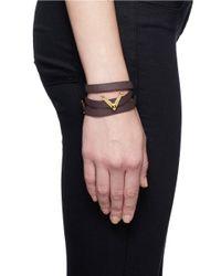 Valentino | Purple 'v' Charm Leather Wrap Bracelet | Lyst