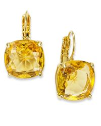 kate spade new york | Metallic 12k Gold-plated Colorado Crystal Square Leverback Earrings | Lyst