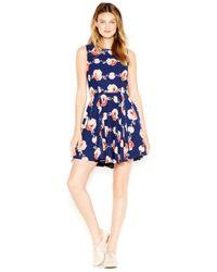 Maison Jules | Blue Fit & Flare Floral-print Dress | Lyst