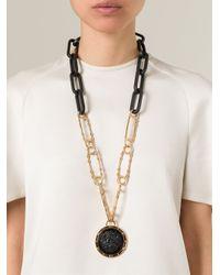 Versus | Lion Black Medal Long Necklace | Lyst