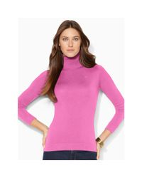 Ralph Lauren | Pink Silk-cotton Turtleneck Sweater | Lyst