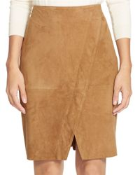 Lauren by Ralph Lauren - Brown Suede Mock-wrap Skirt - Lyst