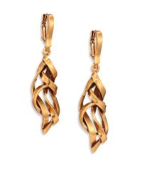 Oscar de la Renta | Metallic Ribbon Drop Earrings | Lyst
