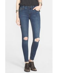 Free People Blue Destroyed Skinny Jeans