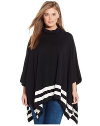 Calvin Klein Black Plus Size Striped Poncho Sweater