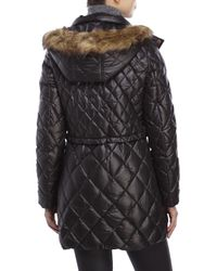 Marc New York - Black Faux Fur Trim Diamond Quilted Down Coat - Lyst