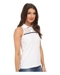 Lacoste | White Sleeveless Mesh Yoke Technical Polo Shirt | Lyst
