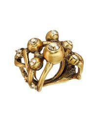 Oscar de la Renta | Metallic Ball And Crystal Ring | Lyst
