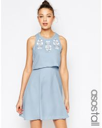 ASOS | Blue Embellished Crop Top Skater Dress | Lyst