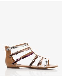 Forever 21 | Purple Metallic Buckled Gladiator Sandals | Lyst