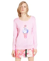 Markus Lupfer Pink Sequined Ice Cream Cotton Sweater