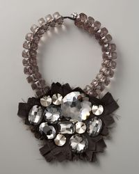Donna Karan - Gray Bib Necklace - Lyst