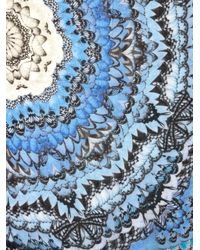 Alexander McQueen Blue Rainbow-Wings Print Scarf