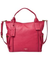 Fossil - Pink Emerson Leather Satchel - Lyst