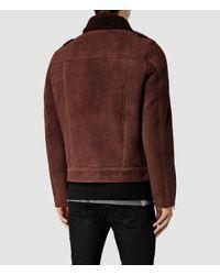 AllSaints | Brown Reeve Shearling Biker Jacket for Men | Lyst