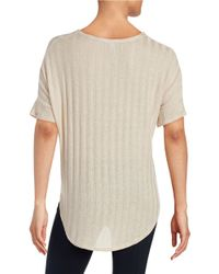 Lord & Taylor - Natural Asymmetrical Fringed Top - Lyst