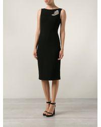 Michael Kors Black Paisley Brooch Sheath Dress