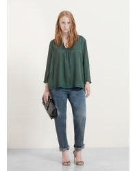 Violeta by Mango | Green Textured Panel Blouse | Lyst
