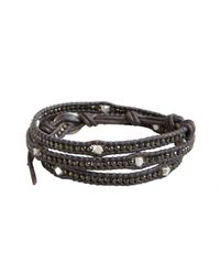 Chan Luu - Gray Grey Leather Silver Nugget Beaded Wrap Bracelet for Men - Lyst