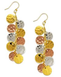 kate spade new york - Metallic Tri-Tone Coin Cluster Drop Earrings - Lyst