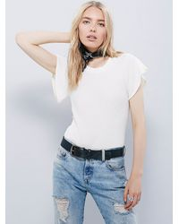 Free People | White Wtf Flutter Sleeve Tee | Lyst