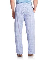 Derek Rose | Blue Plaid Cotton Pajama Pants for Men | Lyst